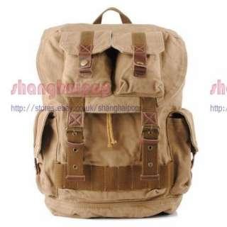 Khaki Retro Canvas Rucksack Backpack Bag Travel Hiking