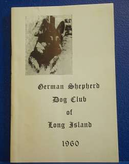 GERMAN SHEPHERD DOG CLUB OF LONG ISLAND/1960 Show Book.