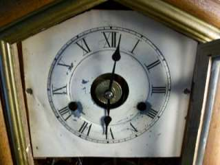 1800s Seth Thomas Shelf/Cottage Clock with Reverse Painting on Glass