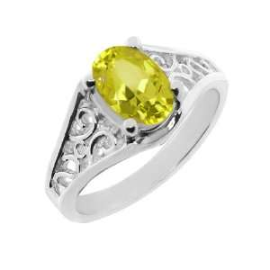 0.80 Ct Oval Cut Canary Mystic Topaz White Gold Ring Jewelry