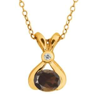 0.79 Ct Oval Brown Smoky Quartz and Topaz Gold Plated