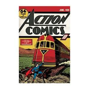 Action Comics Superman Vintage Comic Book Superhero Poster