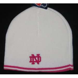 Notre Dame Fighting Irish NCAA Womens White Pink Trim Knit Beanie Hat