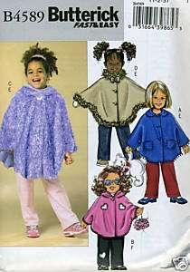 Girls Size 1 2 3 Poncho Pants Sewing Pattern Butterick 4589