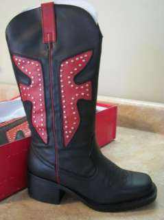 New BAMBOO COWBOY BOOTS Black/Red STUDDED TRIM