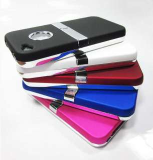 NEW apple iphone case 4g hard chrome stand cover body