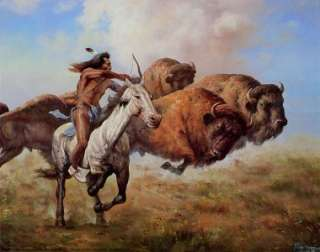 HUNTING BUFFALO 10x8 In. Native American Theme Print