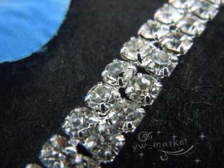 row clear crystal rhinestone trims close chain silver ss16 x 1 yard