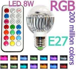 E27 LED RGB 8W 200 Million Colors Bright Light Bulb w/ Remote 100 240V
