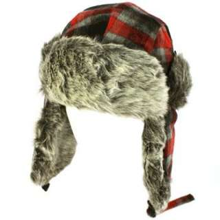 Mens Winter Faux Fur Plaid Check Thick Trooper Trapper Ski Aviator