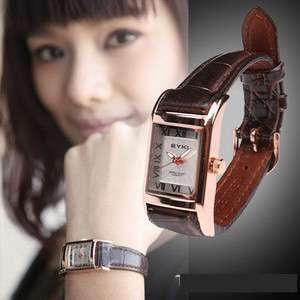 EYKI Fashion Simple Roman numerals Square Quartz Women Wrist Watch