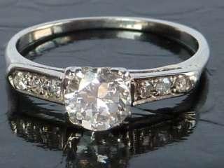 ANTIQUE 18K WHITE GOLD ART DECO .56 CT EUROPEAN DIAMOND ENGAGEMENT