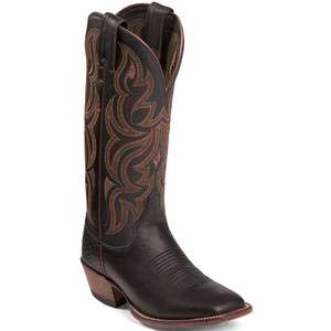 Justin Womens NEW L7008 Remuda Black Brown Leather Western Cowboy