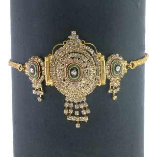 BOLLYWOOD INDIAN DESIGNER GOLD TONE ENAMEL SIMULATED DIAMOND ARMLET