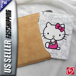 Hello Kitty Hard + BLK Leather Sleeve Case For iPad 2