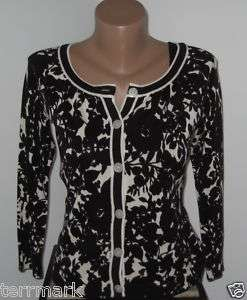 ANN TAYLOR LOFT BLACK WHITE SWEATER CARDIGAN SILK XS