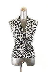 womens black white JONES NEW YORK sweater vest sleeveless zebra silk