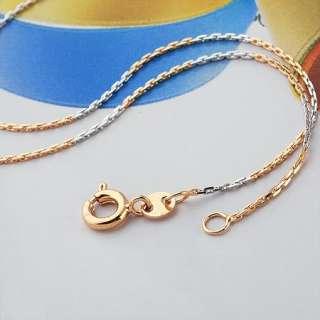 18.5 Unique Ladys 9K Rose&White Gold Filld Chain Necklace P103