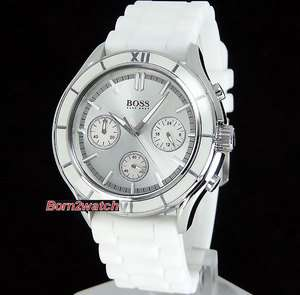 LADIES CHRONOGRAPH MOTHER OF PEARL WHITE POLY U STRAP 1502223