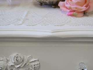 Cottage Chic 6 Drawer Dresser White French Roses Bedroom Furniture