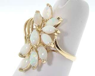 Estate Natural White Opal Solid 14k Yellow Gold Ring