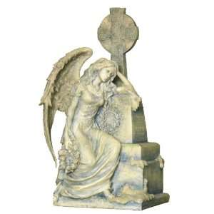 Gothic Weeping Angel Sitting And Leaning On Grave: Home