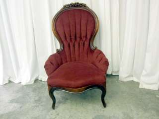 Victorian Style Chairs w Tufted Velvet Fabric in Dark Wine Color