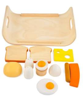 Plan Toys BREAKFAST MENU 3415 Wooden Meat Eggs Bread Play Pretend Food