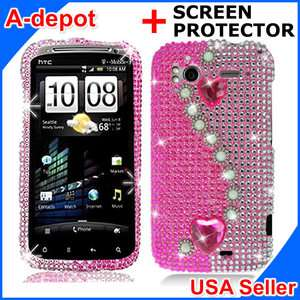Pink Heart Bling Hard Case Cover HTC Sensation 4G +LCD
