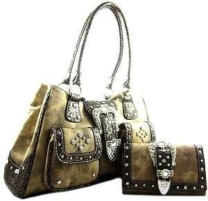 Western Cowgirl Rhinestone Belt Buckle Front Pocket Purse Bag Wallet