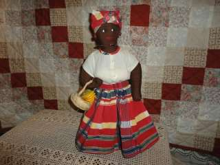 Handmade West Indies Jamaican Stuffed Doll Wooden Fruit
