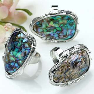 PRETTY Abalone Shell Beads Adjustable FINGER RINGS 1PC. The Picture is