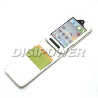 WHITE LEATHER WALLET CASE COVER FOR IPOD TOUCH 4 4G