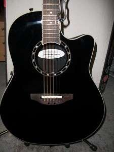 1771AX Standard Balladeer Black Acoustic Electric Guitar + Case