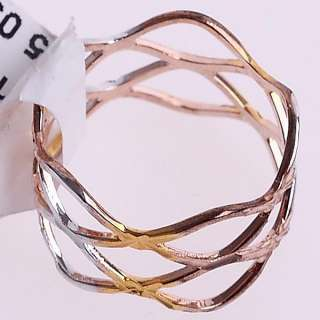 18K Gold Plated Waved Band Metal Craft Ring 91478