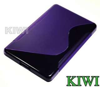 Screen LCD Protector + Purple TPU Wave Pattern Soft Case Cover For