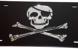 JOLLY ROGER Mirror license Plate Pirate Flag Rebel Tag