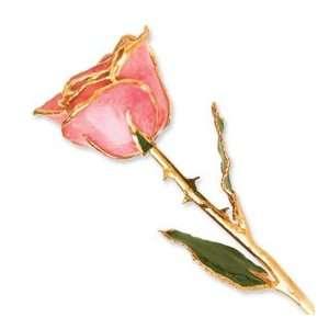 Long Stem Dipped 24K Gold Trim Pink Genuine Rose in Gold