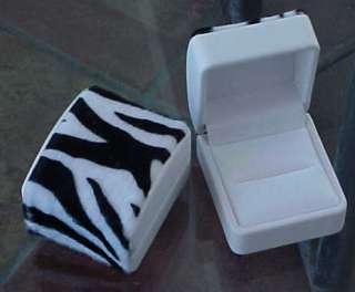 ZEBRA Faux Fur ENGAGEMENT WEDDING RING Domed Gift Box