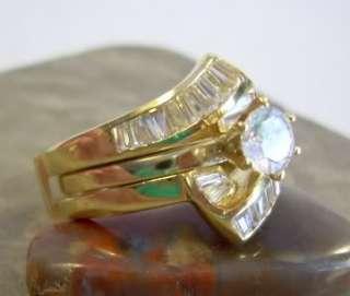 CZ ice + 14K Gold Plate ~ WEDDING RING SET ~sz 10 NEW