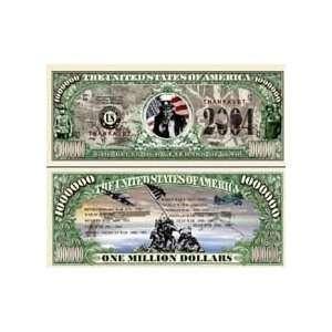 100 BILLS VETERANS OF WAR   THANKS A MILLION DOLLAR BILL Toys & Games