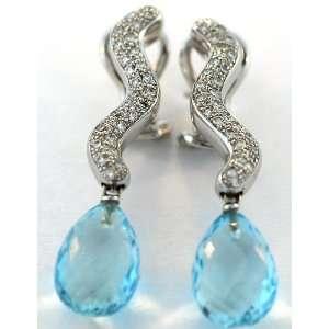 Antonini 18kt White Gold Diamond and Aquamarine Earrings