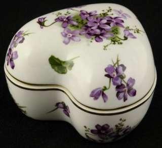 Victorian Violets Heart Shaped Trinket Box 4.5 Gold Rim (England