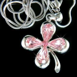 Irish w Swarovski Crystal Pink 4 Leaf Clover Lucky Shamrock Pendant