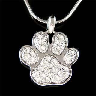 Swarovski Crystal Dog KITTY CAT Kitten Pawprint Paw Print Pendant