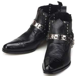 New Mens Fashion Ankle Steel Black Boots Shoes All Size