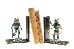Pair Aluminum Verdi Green Verdigris Frogs Playing Bookends Book