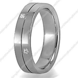 Diamond Wedding Ring, Platinum, 5mm Wide, Pricess Cut, 0.20 Carat