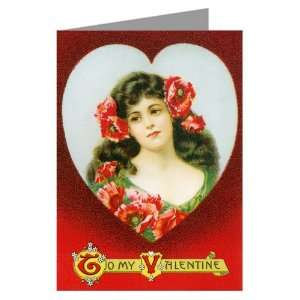 Cameo of Love Vintage Valentines Day note Card Health