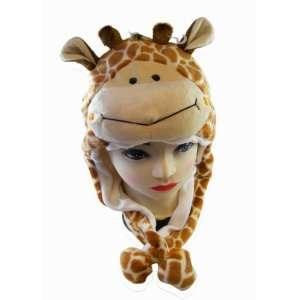 Plush Giraffe Animal Hat   Giraffe Hat with Ear Flaps and